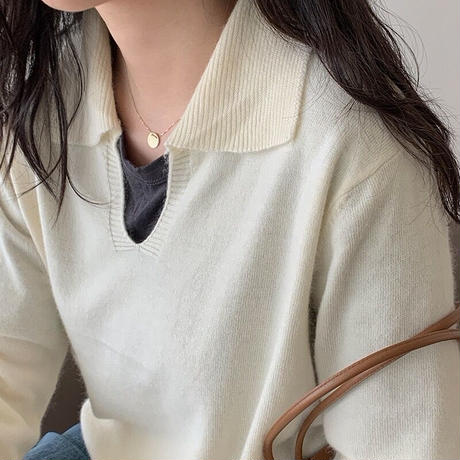 wool knit polo/2color