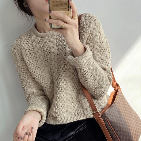cropped cable knit/3color