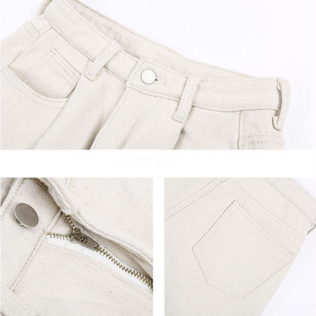 white high-waist denim