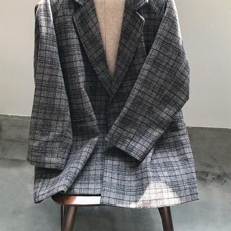 check double jacket coat