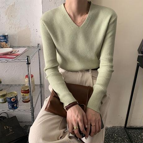 basic V neck rib knit/6color