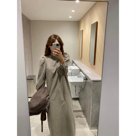2way puff sleeve long dress/3color