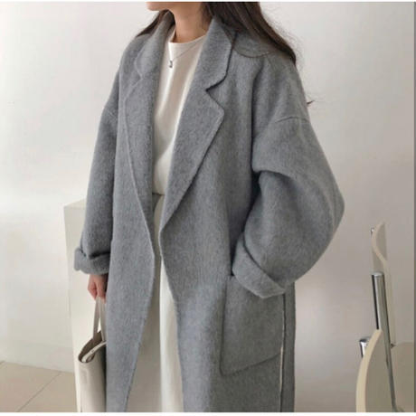 【wool 100%】gown long coat/2size【hand made】