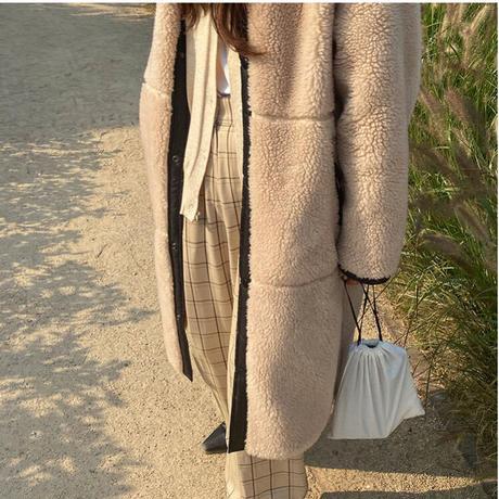 boa line long coat/2color