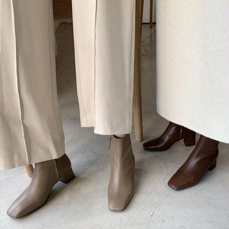 【real leather】square too short boots/smooth leather