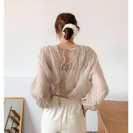 back ribbon sheer tops/3color