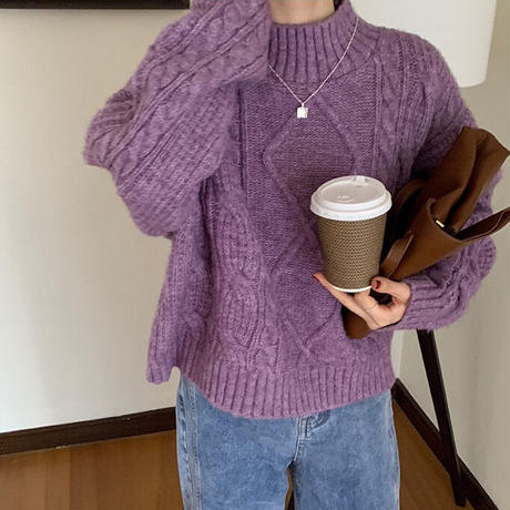 mock neck cable knit/4color
