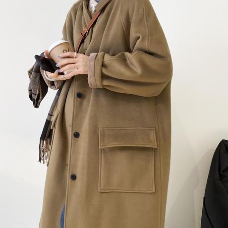 merino wool stencollar coat/2color