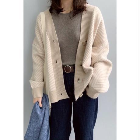 herringbone knit cardigan/2color
