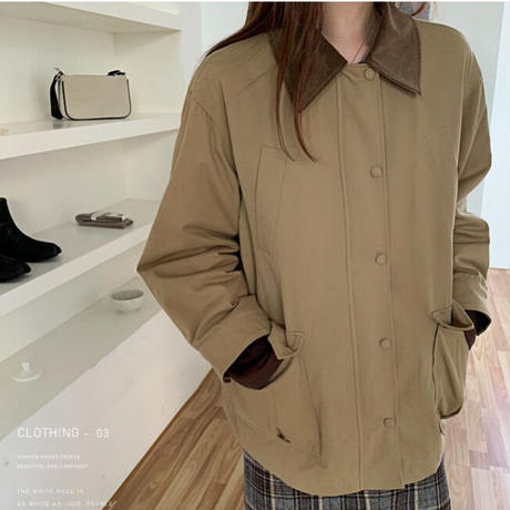corduroy mix military jacket/2color