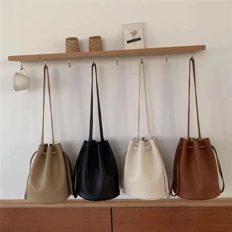 eco leather kinchaku bag/4color