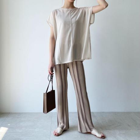 【即納】linen touch stripe flare pants