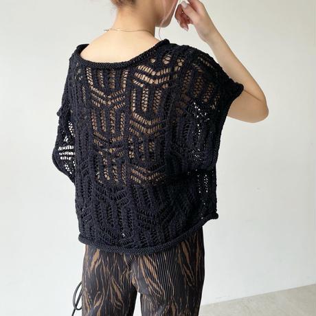 sheer mesh knit short tops 【即納】