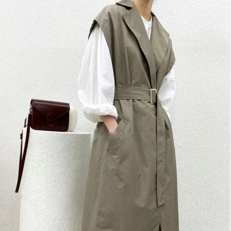 【MADE in KOREA】Long trench coat gilet