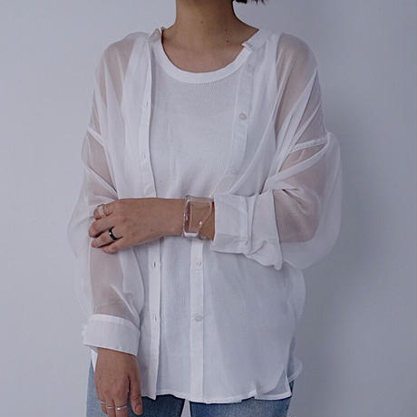Sheer Band Collar Shirt   2col