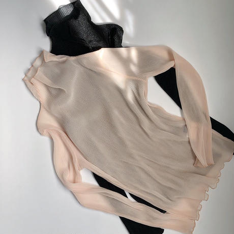 sheer pleated highneck tops  2col