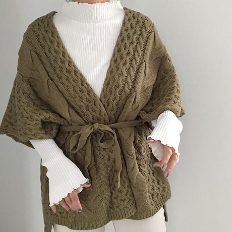 3G cable poncho cardigan  2col
