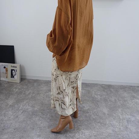 back slit marble skirt   2col