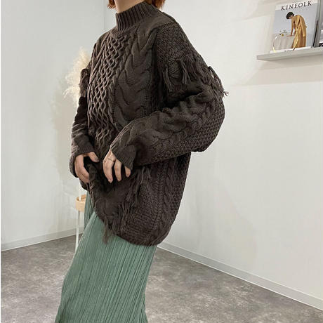 cable fringe knit tops