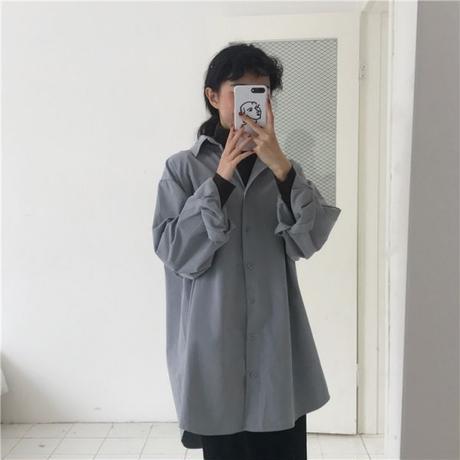 モダンロングビッグシャツ   2col