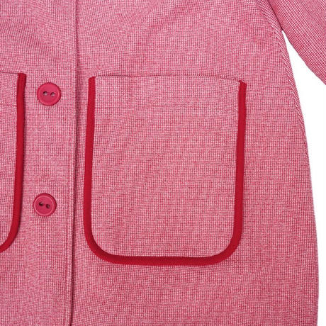 piping retro cocoon coat(red pattern)