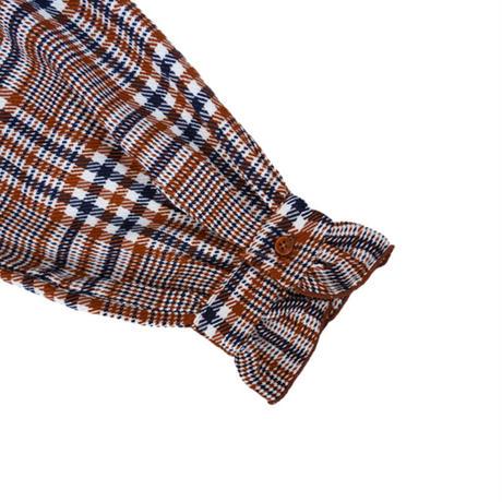 warming check frill onepiece(orange×navy)