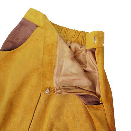 bi color suède skirt(mustard×brown)