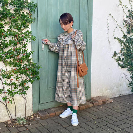 warming check frill onepiece(green×brown)