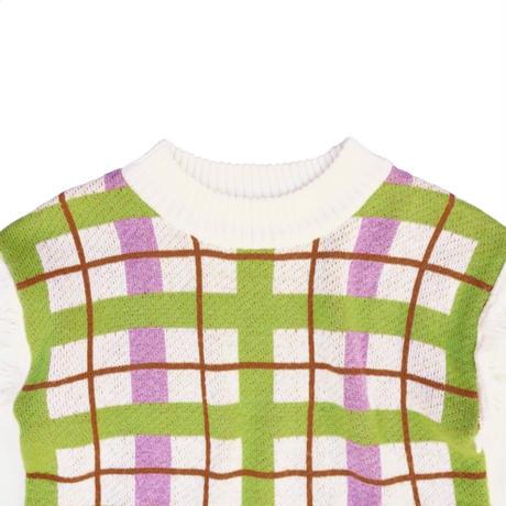 pop coloring check  knit(white)
