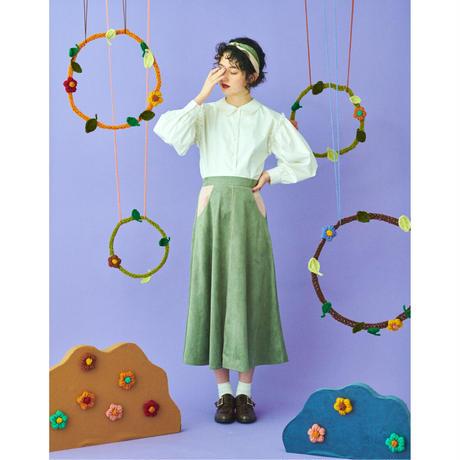 bi color suède skirt(green×pink)
