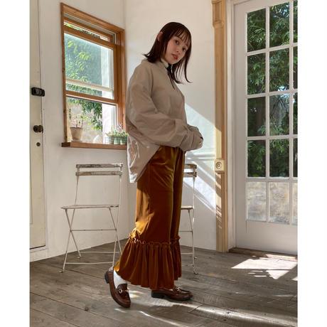 waving frill velours pants(mustard brown)