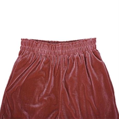 waving frill velours pants(raspberry)
