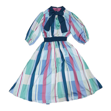 colorful pattern ribbon tie dress ( green )