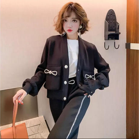 【Mサイズ】キラキラリボンブローチ付きスウェットセットアップ♡ブラック