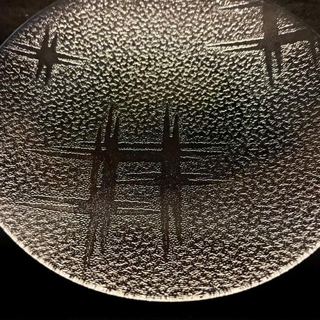 昭和型ガラス「いろり」 皿 円形 小(Φ120mm)