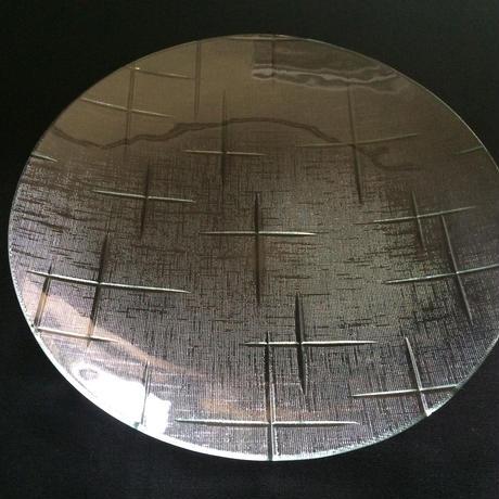 昭和型ガラス「かすり」 皿 円形 大(Φ180mm)
