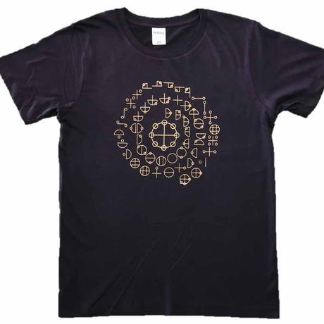 【Tシャツ 半袖 長袖】カタカムナ 綿生地 ベージュ印刷 紺