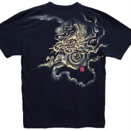 【手描きTシャツ】龍1 黒 コットン生地