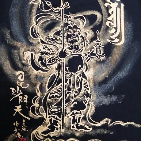 手描きTシャツ 仏画 No.6 毘沙門天 黒 綿生地 (半袖 長袖)