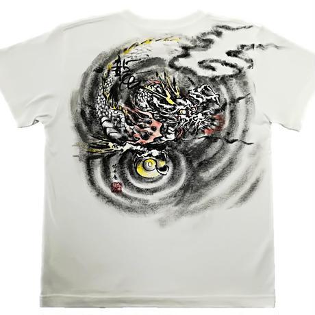【手描きTシャツ】龍2 白 コットン生地