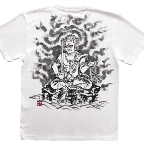 【手描きTシャツ】不動明王座像  白  綿生地