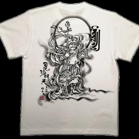 手描きTシャツ 仏画 No.6 毘沙門天 白 綿生地 (半袖 長袖)