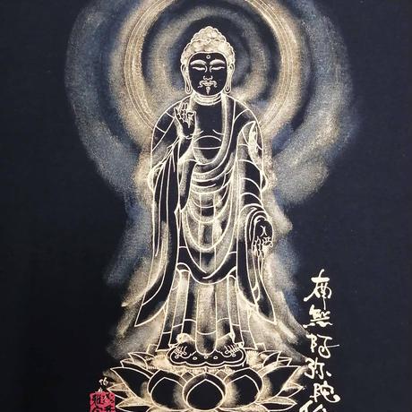 手描きTシャツ 仏画 No.19 阿弥陀如来 立像 (黒 綿生地)