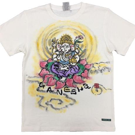 【手描きTシャツ】ガネーシャ イラスト前面 クリーム  彩色 麻生地