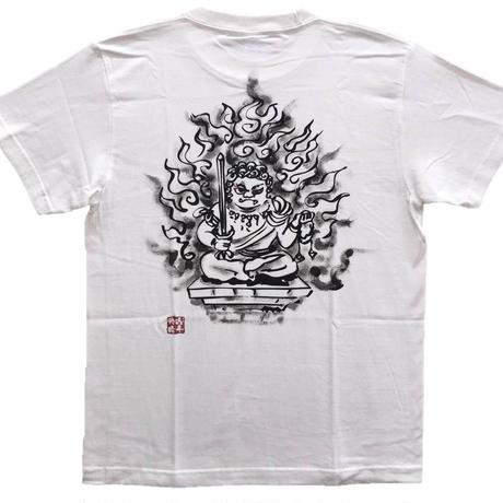 手描きTシャツ No.3 かわいい不動明王 白 綿生地 (半袖 長袖)