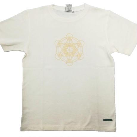 【Tシャツ】フルーツ・オブ・ライフ5 麻生地 クリーム 姫川薬石インク