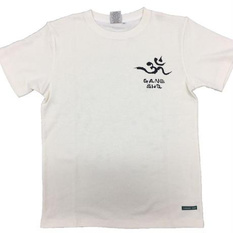 【手描きTシャツ】ガネーシャ イラスト背面  クリーム  麻生地