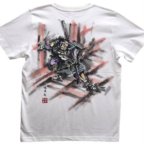 【手描きTシャツ】朝比奈門破り 白 彩色 コットン生地