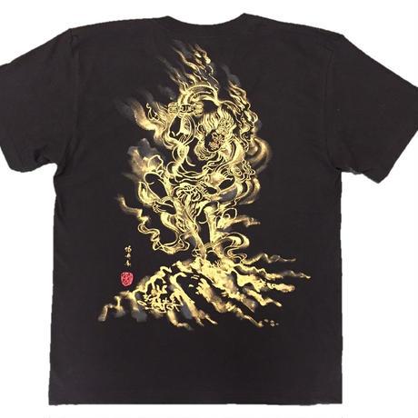 【手描きTシャツ】蔵王権現 黒 綿生地