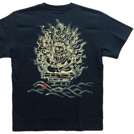 【手描きTシャツ】不動明王オリジナル 黒 綿生地